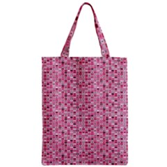 Abstract Pink Squares Zipper Classic Tote Bag
