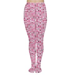 Abstract Pink Squares Women s Tights