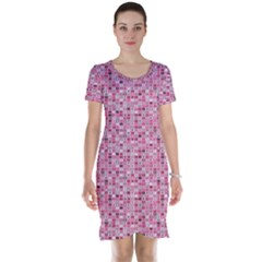 Abstract Pink Squares Short Sleeve Nightdress