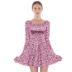 Abstract Pink Squares Long Sleeve Skater Dress