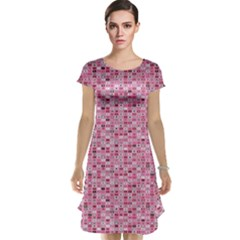 Abstract Pink Squares Cap Sleeve Nightdress