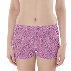 Abstract Pink Squares Boyleg Bikini Wrap Bottoms