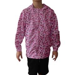 Abstract Pink Squares Hooded Wind Breaker (Kids)