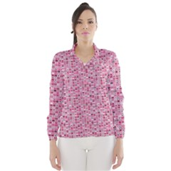 Abstract Pink Squares Wind Breaker (Women)