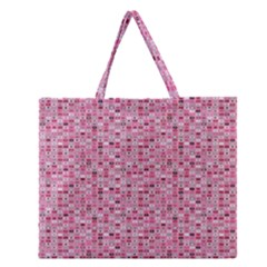 Abstract Pink Squares Zipper Large Tote Bag