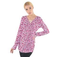 Abstract Pink Squares Women s Tie Up Tee