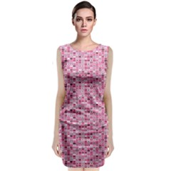 Abstract Pink Squares Classic Sleeveless Midi Dress