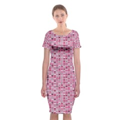 Abstract Pink Squares Classic Short Sleeve Midi Dress
