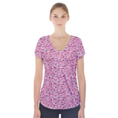 Abstract Pink Squares Short Sleeve Front Detail Top