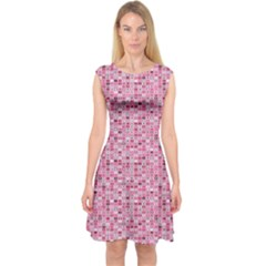 Abstract Pink Squares Capsleeve Midi Dress