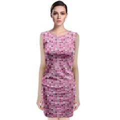 Abstract Pink Squares Sleeveless Velvet Midi Dress