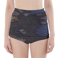 World Map High-Waisted Bikini Bottoms
