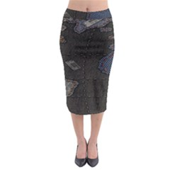 World Map Midi Pencil Skirt