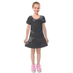 World Map Kids  Short Sleeve Velvet Dress