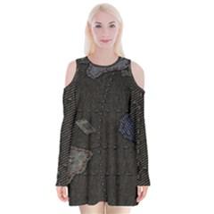 World Map Velvet Long Sleeve Shoulder Cutout Dress