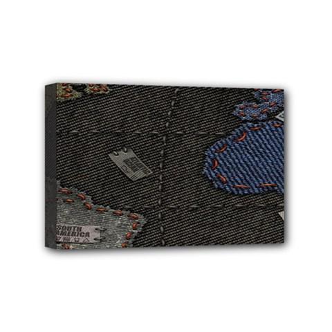 World Map Mini Canvas 6  X 4