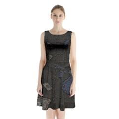 World Map Sleeveless Waist Tie Chiffon Dress
