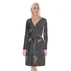 World Map Long Sleeve Velvet Front Wrap Dress