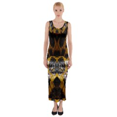 Textures Snake Skin Patterns Fitted Maxi Dress