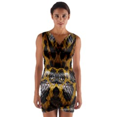 Textures Snake Skin Patterns Wrap Front Bodycon Dress