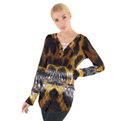 Textures Snake Skin Patterns Women s Tie Up Tee