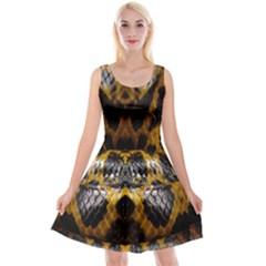 Textures Snake Skin Patterns Reversible Velvet Sleeveless Dress