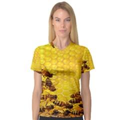 Sweden Honey Women s V Neck Sport Mesh Tee