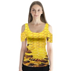 Sweden Honey Butterfly Sleeve Cutout Tee