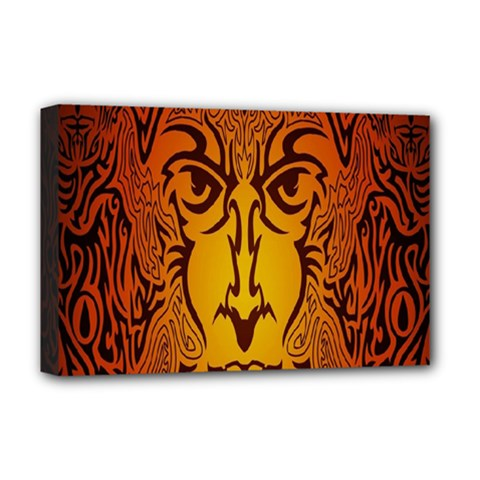Lion Man Tribal Deluxe Canvas 18  x 12