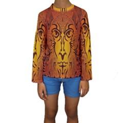 Lion Man Tribal Kids  Long Sleeve Swimwear