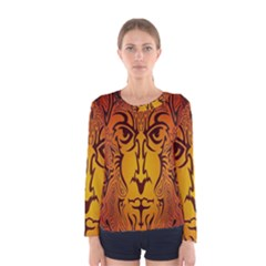 Lion Man Tribal Women s Long Sleeve Tee