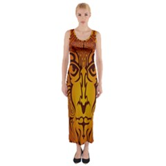 Lion Man Tribal Fitted Maxi Dress