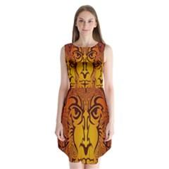 Lion Man Tribal Sleeveless Chiffon Dress