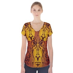 Lion Man Tribal Short Sleeve Front Detail Top