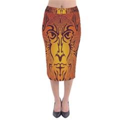 Lion Man Tribal Velvet Midi Pencil Skirt