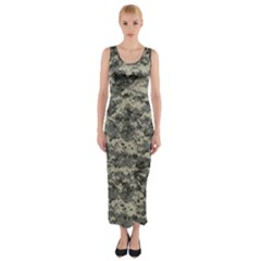 Us Army Digital Camouflage Pattern Fitted Maxi Dress