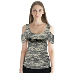 Us Army Digital Camouflage Pattern Butterfly Sleeve Cutout Tee
