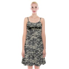 Us Army Digital Camouflage Pattern Spaghetti Strap Velvet Dress