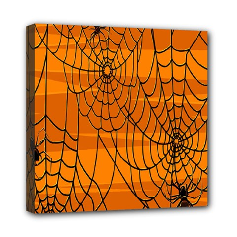 Vector Seamless Pattern With Spider Web On Orange Mini Canvas 8  x 8