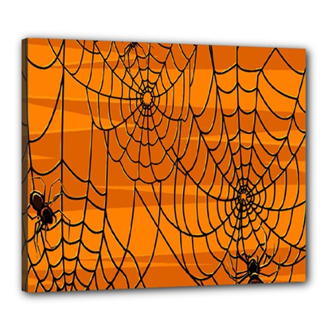 Vector Seamless Pattern With Spider Web On Orange Canvas 24  X 20