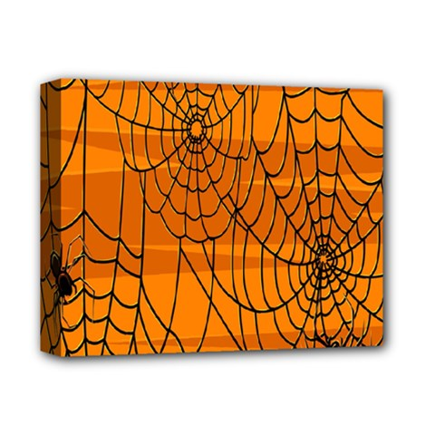Vector Seamless Pattern With Spider Web On Orange Deluxe Canvas 14  X 11