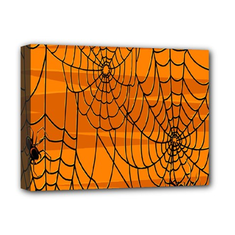 Vector Seamless Pattern With Spider Web On Orange Deluxe Canvas 16  x 12