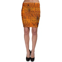 Vector Seamless Pattern With Spider Web On Orange Bodycon Skirt