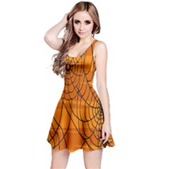 Vector Seamless Pattern With Spider Web On Orange Reversible Sleeveless Dress