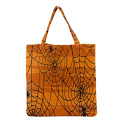 Vector Seamless Pattern With Spider Web On Orange Grocery Tote Bag