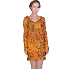Vector Seamless Pattern With Spider Web On Orange Long Sleeve Nightdress