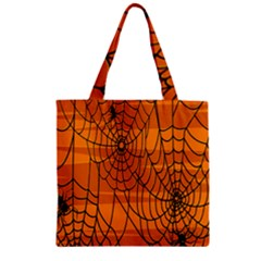 Vector Seamless Pattern With Spider Web On Orange Zipper Grocery Tote Bag