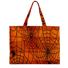 Vector Seamless Pattern With Spider Web On Orange Zipper Mini Tote Bag