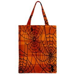 Vector Seamless Pattern With Spider Web On Orange Zipper Classic Tote Bag