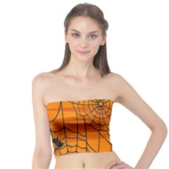 Vector Seamless Pattern With Spider Web On Orange Tube Top